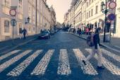 The streets of the old town. Crosswalk (zebra). District Mala Strana - Lesser Town of Prague. Stylization. Toning — Stock Photo