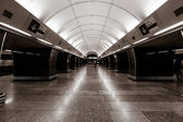 Prague metro. Stylization. Toning. Sepia. Prague is the capital and largest city of the Czech Republic. — Stock Photo