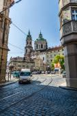 St. Nicholas Church. District Mala Strana - Lesser Town of Prague. Prague is the capital and largest city of the Czech Republic. — Stock Photo