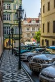 Vintage street lamp posts. District Mala Strana - Lesser Town of Prague. Prague is the capital and largest city of the Czech Republic. — Stock Photo