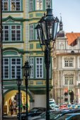 Vintage street lamp posts. Stylization. Toning. District Mala Strana - Lesser Town of Prague. Prague is the capital and largest city of the Czech Republic. — Stock Photo
