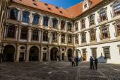 The courtyard of the Wallenstein Palace. Wallenstein Palace is a Baroque palace in Mala Strana, currently the home of the Czech Senate. — Stock Photo