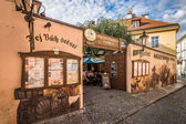 Traditional beer pubs in the district of the Lesser Town (Mala Strana). Prague is the capital and largest city of the Czech Republic. — Stock Photo