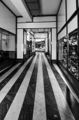 Shopping Arcade. Black and white. Prague is the capital and largest city of the Czech Republic. — Stock Photo