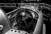 Cabin of a racing car Auto Union Type A, 1934. Black and white — Stock fotografie
