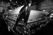 Fragment of a full-size car Buick Century Riviera convertible, 1958. Rear view. Black and white — Stock Photo