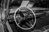 Cabin of a full-size car Buick Century Riviera convertible, 1958. Black and white. — Stock Photo