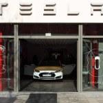 Постер, плакат: Showroom company of Tesla Motors on Kurfurstendamm Berlin