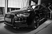 Showroom. Compact executive car Audi A3 1.8 T quattro. Black and white — Stockfoto