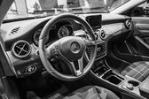Cabin of a compact luxury car Mercedes-Benz B-Class Electric Drive. — Стоковое фото