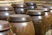 Ancient Korean traditional large earthen reservoir for food storage (Onggi). Background. — Stock Photo
