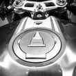 Постер, плакат: The fuel tank of a sport bike Ducati 1299 Panigale by Ducati Corse racing team