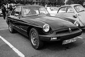 Sports car MGB GT V8, body designed by Pininfarina. Black and white. — Stock Photo