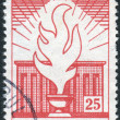 Postage stamp printed in Turkey, dedicated to the 20th death annivercary of Kemal Ataturk, depicted Flame and mausoleum — Stock Photo #78484974