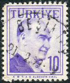 Postage stamp printed in Turkey, depicted the 1st President of Turkey, Mustafa Kemal Pasha (Ataturk) — Stock Photo