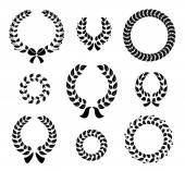 Set of silhouette circular laurel wreaths — Stock Vector