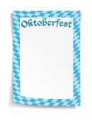 Oktoberfest board in bavarian colors on white background — Stock vektor