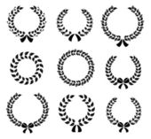 Set of silhouette circular laurel wreaths — Vetorial Stock