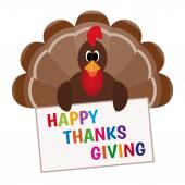 Thanksgiving card with cartoon of turkey bird — Stock Vector
