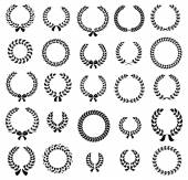 Set of silhouette circular laurel wreaths — Stok Vektör