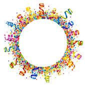 Confetti and serpentine round frame — Stock Vector