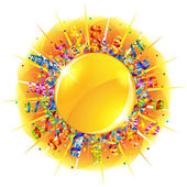 Confetti and serpentine sun — Stock Vector
