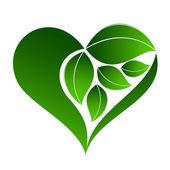 Icona astratta pianta con elemento di cuore — Vettoriale Stock