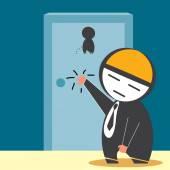 Businessman Knocking restroom — Stock Vector