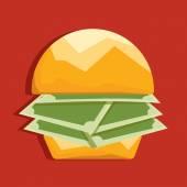 Hamburger with money paper — Stock Vector