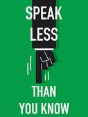 Word SPEAK LESS — Stock Vector