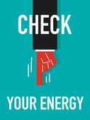 Word CHECK YOUR ENERGY — Stock vektor