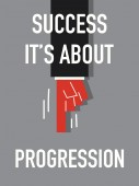 Word SUCCESS IT'S ABOUT PROGRESSION — Vecteur