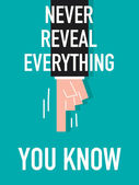 Word NEVER REVEAL EVERYTHING YOU KNOW — Stock Vector
