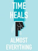 Words TIME HEALS ALMOST EVERYTHING — Stock Vector