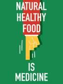 Words NATURAL HEATHY FOOD IS MEDICINE — Stock Vector