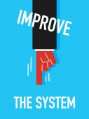 Words IMPROVE THE SYSTEM — Vector de stock
