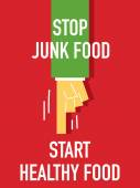 Words STOP JUNK FOOD START HEALTHY FOOD — Stock vektor