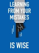 Words LEARNING FROM YOUR MISTAKES IS WISE — ストックベクタ