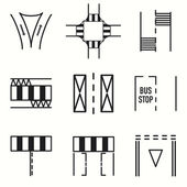 Road signs icons set — Stock Vector
