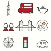 Londen icons set — Stockvector