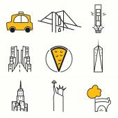 New York icons set — Stock Vector