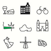 Amsterdam icons set — Stock Vector