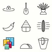 Mexico icons set — Stock Vector