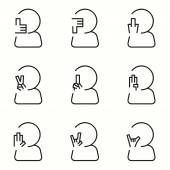Hand Signs icons set — Stock Vector