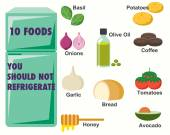 Foods You should not refrigerate Infographics — Stock Vector