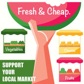 Support your local market — Stock Vector