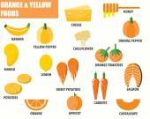 Orange and Yellow foods infographics — Stock Vector