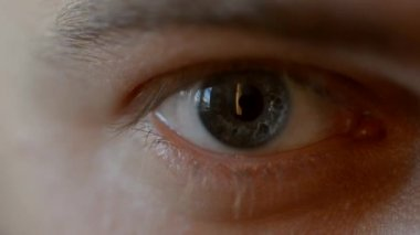 Blue eye with contact lens. — Stock Video