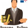 Panama national currency symbol Balboa representing money and Fl — Vector de stock