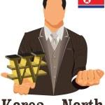 Постер, плакат: North Korea national currency North Korean won symbol representi